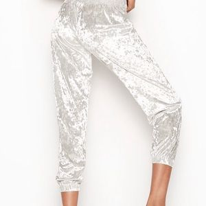 Victoria Secret Light Great/Silver Velvet Joggers